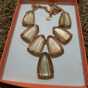 NWT Kendra Scott Gold Dusted Glass Harlow Necklace